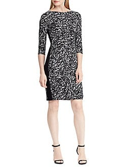 Printed Stretch Jersey Sheath Dress BLACK. Product image. QUICK VIEW. Lauren  Ralph Lauren