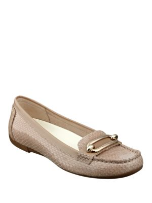 Noris Embossed Leather Loafers by Anne Klein