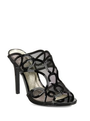 Glam Mesh-Accented Open-Toe Mules by Adrianna Papell