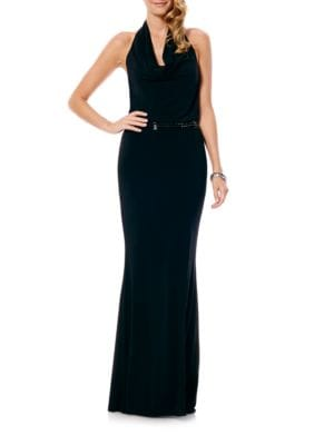 Drape-Front Halter Gown by Laundry by Shelli Segal