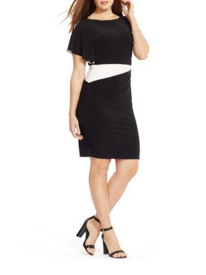 Flutter-Sleeve Jersey Dress by Lauren Ralph Lauren