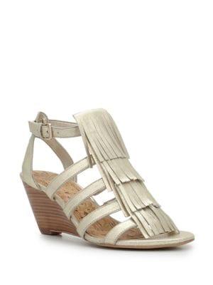 Sandra Leather Wedge Sandals by Sam Edelman