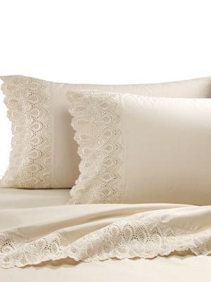 T600 COTTON RICH 600 Thread count Cotton Rich Easy Care Lace 4PIece Sheet Set