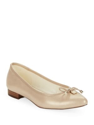 Ovi Pointed Toe Leather Flats by Anne Klein