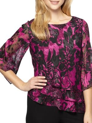 Floral Print Chiffon Asymmetrical Tier Blouse by Alex Evenings