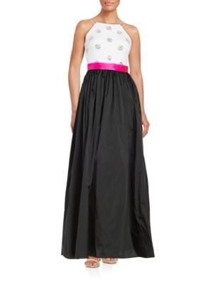 Embellished Colorblock Gown by Aidan Aidan Mattox