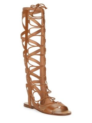 Bright Leather Knee-High Gladiator Sandals by Sigerson Morrison