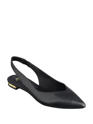 Silvia Point-Toe Leather Slingback Flats by Marc Fisher LTD