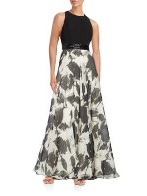Beaded Belt Floral Silk-Blend Gown by Carmen Marc Valvo