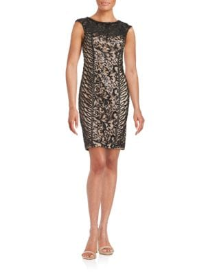 Sequined Illusion Sheath Dress by Sue Wong