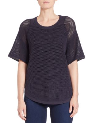 Mesh-Sleeved Sweater...