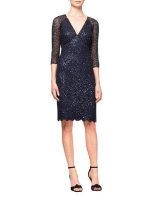 Sequined Mesh Sheath Dress by Kay Unger