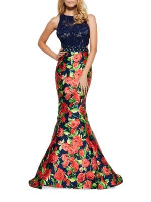 Lace Floral Skirt Gown by Mac Duggal