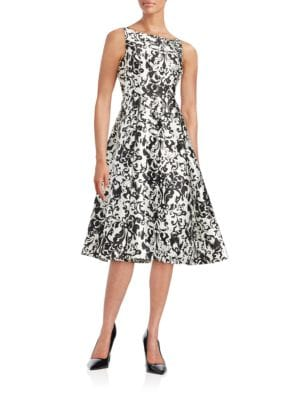 Damask Fit-and-Flare Dress by Adrianna Papell
