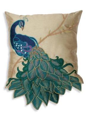 Fancy Peacock Applique Pillow 500089721328