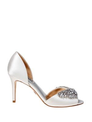 Candance Satin Open-Toe Pumps by Badgley Mischka
