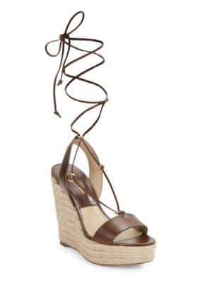 Clive Leather Wedge Espadrille Sandals by Michael Kors Collection