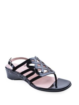 Kelvo Patent Leather Wedge Thong Sandals by Taryn Rose