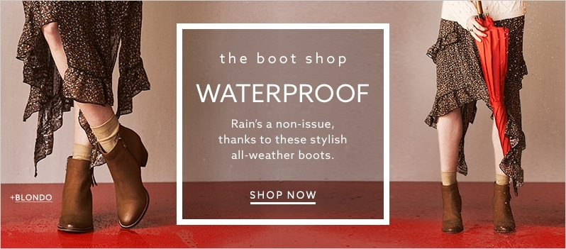 Blondo western-style weather-resistant brown boots with ruffle skirt at  lordandtaylor.com · Vionic gray suede booties with low stacked heel ... fa02afc94178