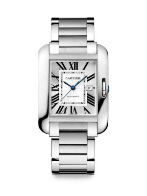Tank Anglaise Automatic Large Stainless Steel Bracelet Watch