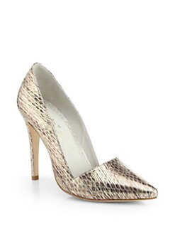 Alice + Olivia - Dina Snake-Embossed Metallic Leather Pumps
