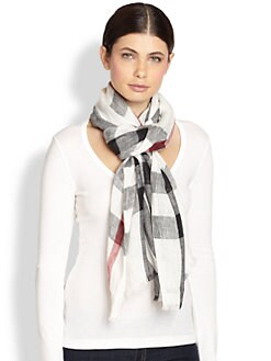 Burberry - Exploded Check Linen Scarf