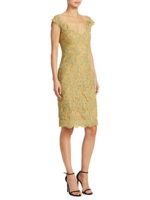 REEM ACRA Metallic-Lace Sheath Dress