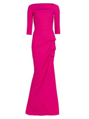 Kate Slit-Detail Boatneck Gown