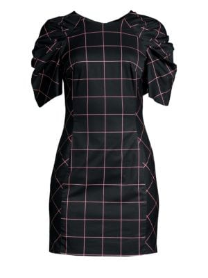 Aria Ruched Sleeve Grid Shift Dress