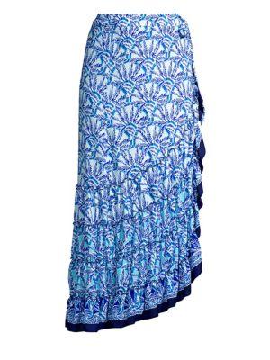 Alaina Ruffled Print Wrap Skirt