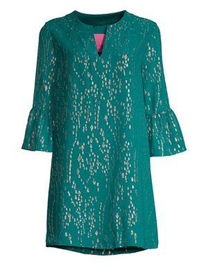 LILLY PULITZER Elenora Metallic Silk Tunic Dress in Inky Tidal