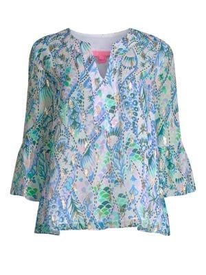 LILLY PULITZER Elenora Metallic Silk Printed Top in Coastal Blue