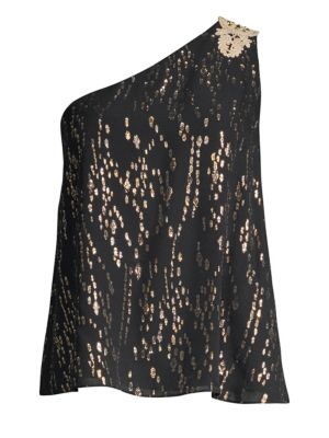 LILLY PULITZER Sienne Metallic Silk One-Shoulder Top in Onyx