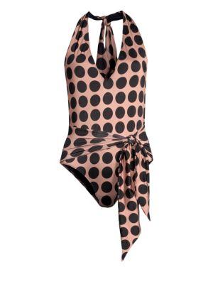 STELLA MCCARTNEY | Polka Dot Twist Tie Front One-Piece Swimsuit | Goxip
