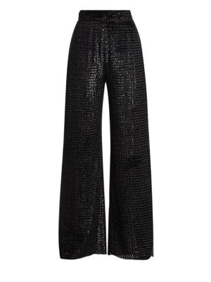 Cropped Velvet Jacquard Wide Leg Pants