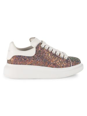 Glitter Platform Sneakers in White