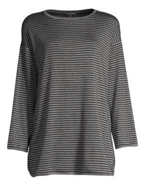 Striped Terry Cloth Side-Slit Tunic, Plus Size in Ash/Black