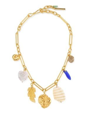 Paradise 18K Yellow Goldplated, Mother-Of-Pearl, & Stone Charm Necklace