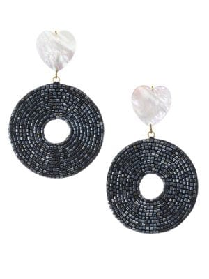 Starlet 18K Goldplated Mother-Of-Pearl Beaded Disc Drop Earrings