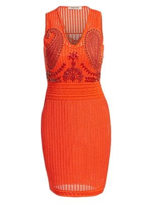 Crochet Embroidered Cocktail Sheath Dress