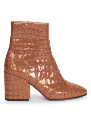 Crocodile Print Leather Bootie