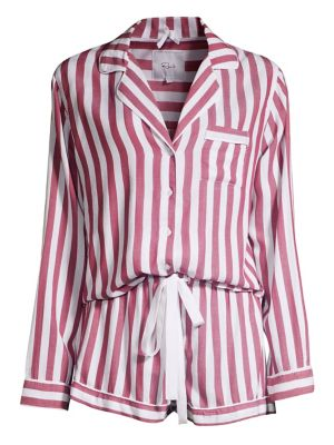 Two-Piece Striped Pajama Top and Shorts Set