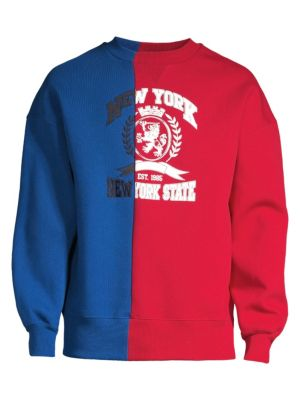 Colorblock Crest Patch Cotton Sweater