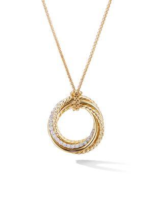 18K Yellow Gold & Pavé Diamond Pendant Necklace