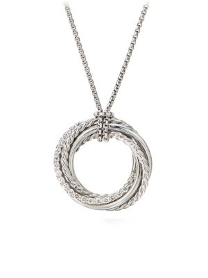 Crossover Diamond & Sterling Silver Pendant Necklace