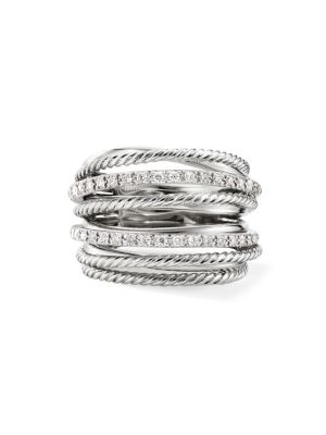Crossover Diamond & Sterling Silver Wide Ring