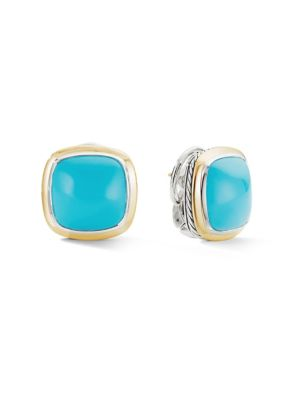 """Albion 18K Yellow Gold, Sterling Silver & Turquoise Stud Earrings/0.56"""""""
