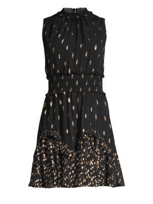 Metallic Polka Dot Sleeveless Smocked Waist A-Line Dress