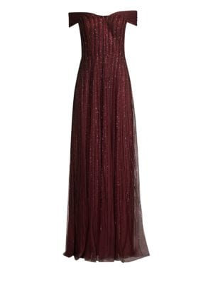 Off-The-Shoulder Beaded Gown