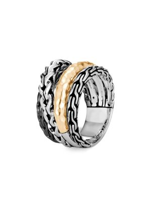 Classic Chain 18K Bonded Yellow Gold & Silver Ring